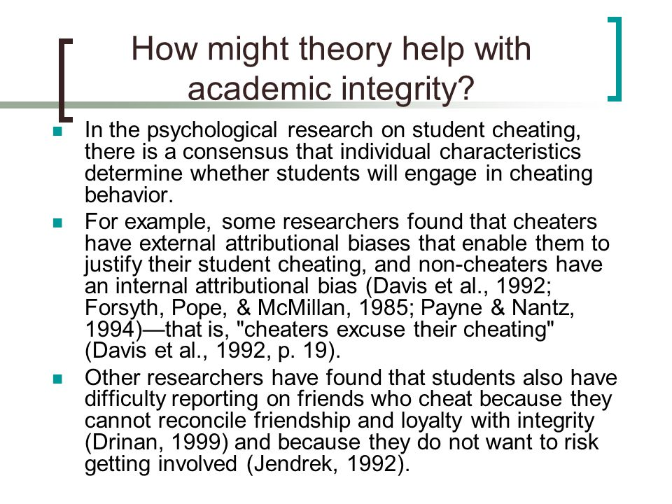 How might theory help with academic integrity