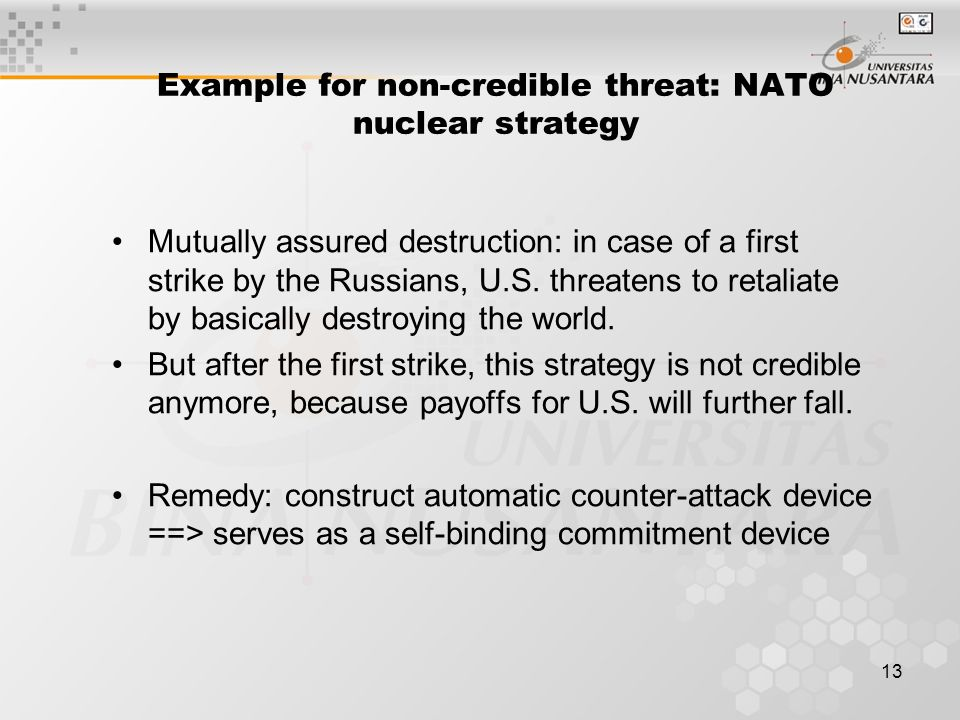Example for non-credible threat: NATO nuclear strategy