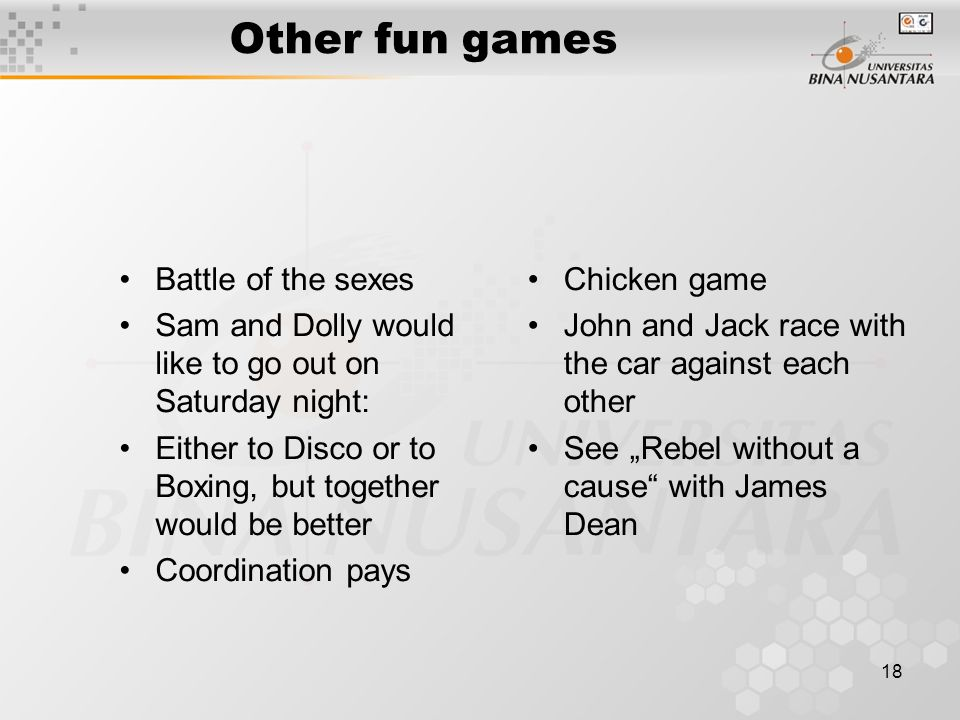 Other fun games Battle of the sexes