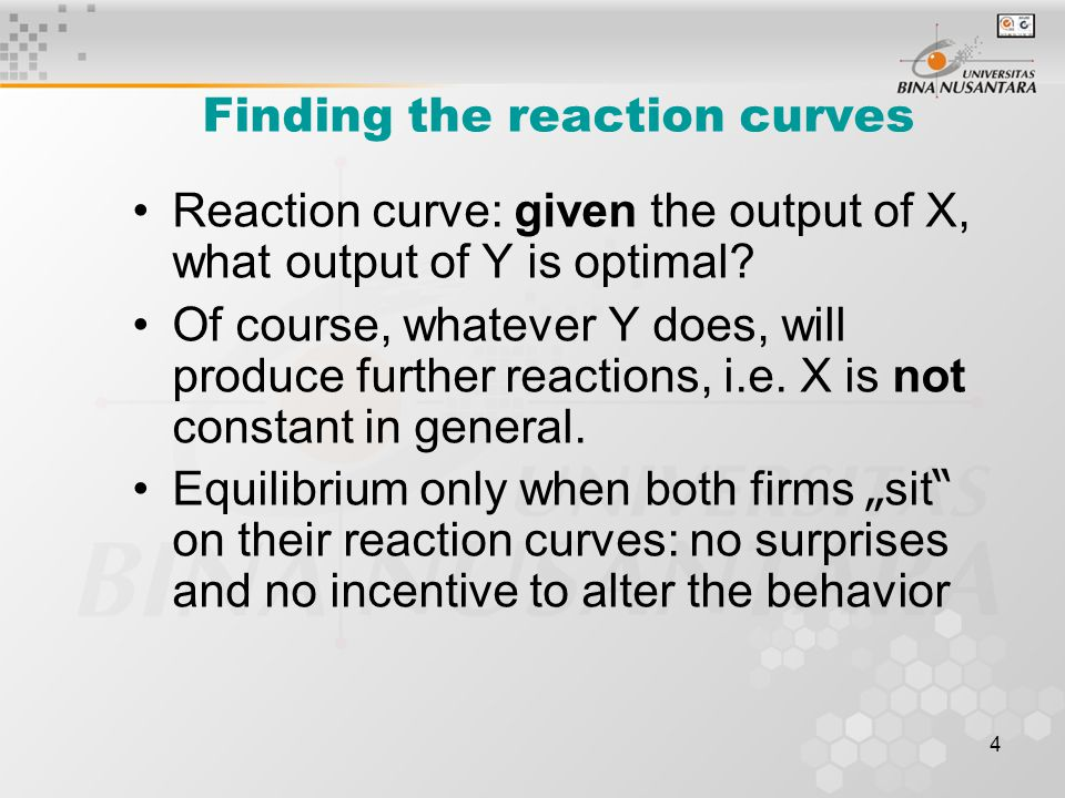 Finding the reaction curves