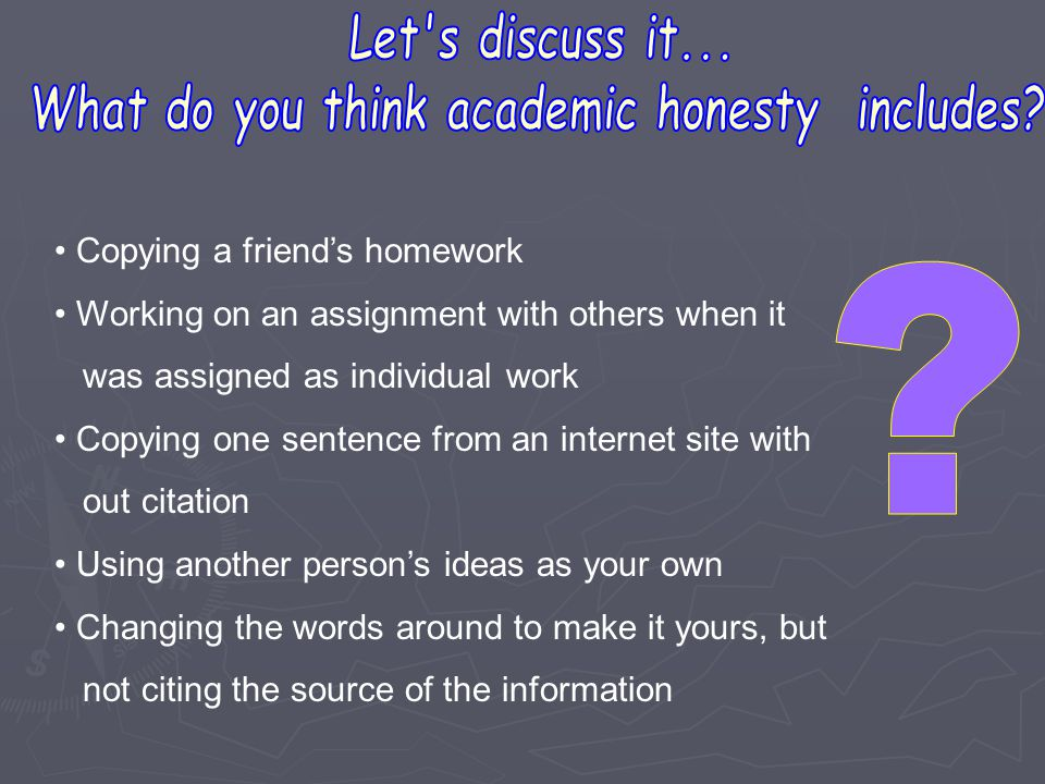 What do you think academic honesty includes