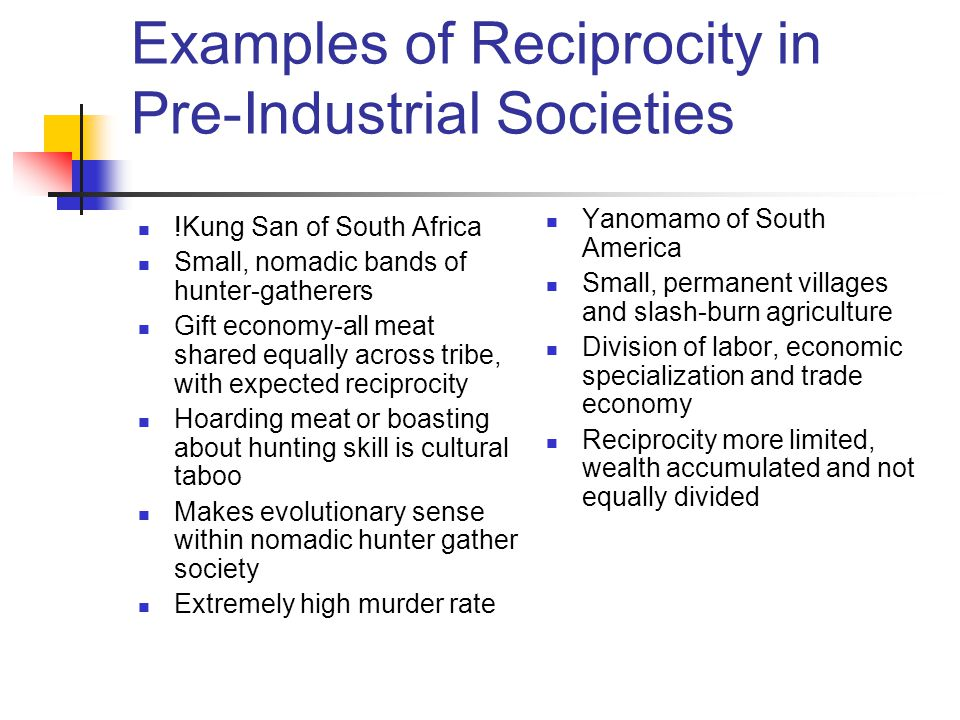 Examples of Reciprocity in Pre-Industrial Societies