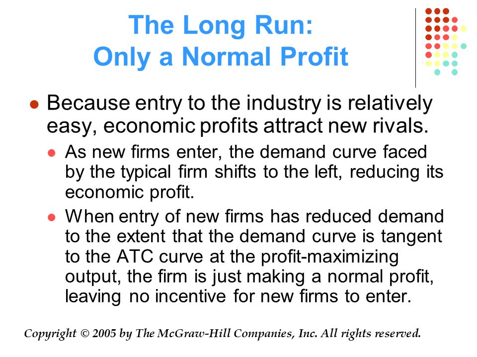 The Long Run: Only a Normal Profit