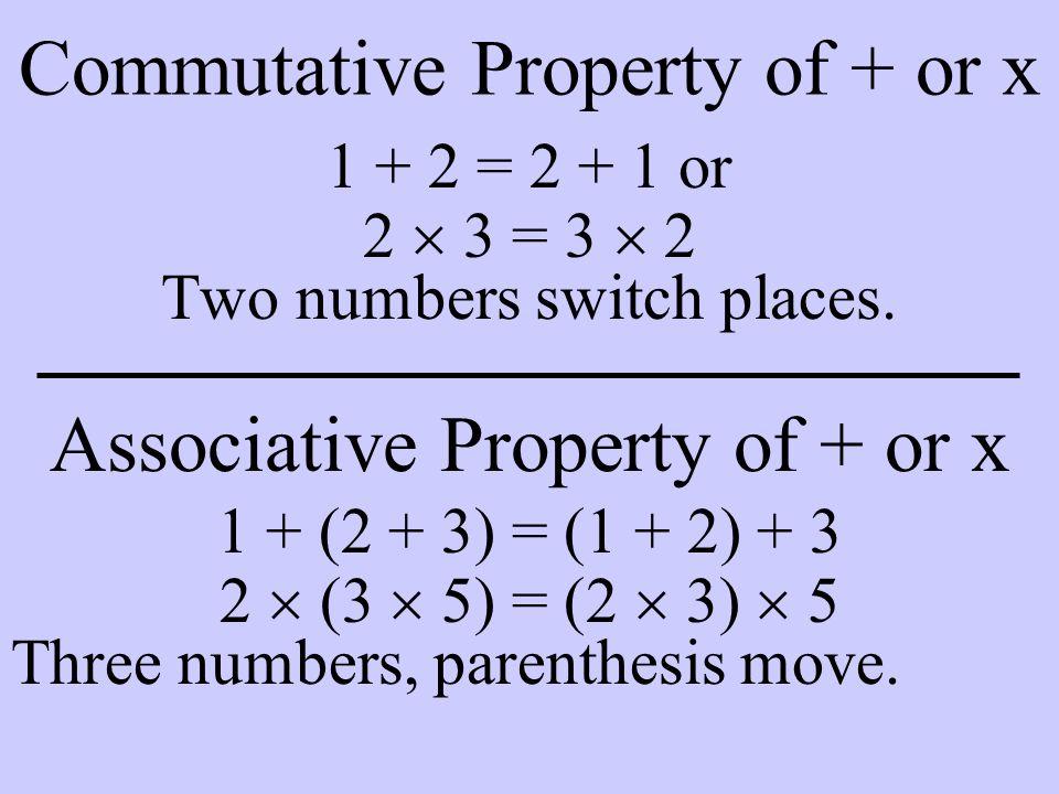 Commutative Property of + or x