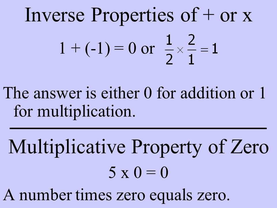 Inverse Properties of + or x