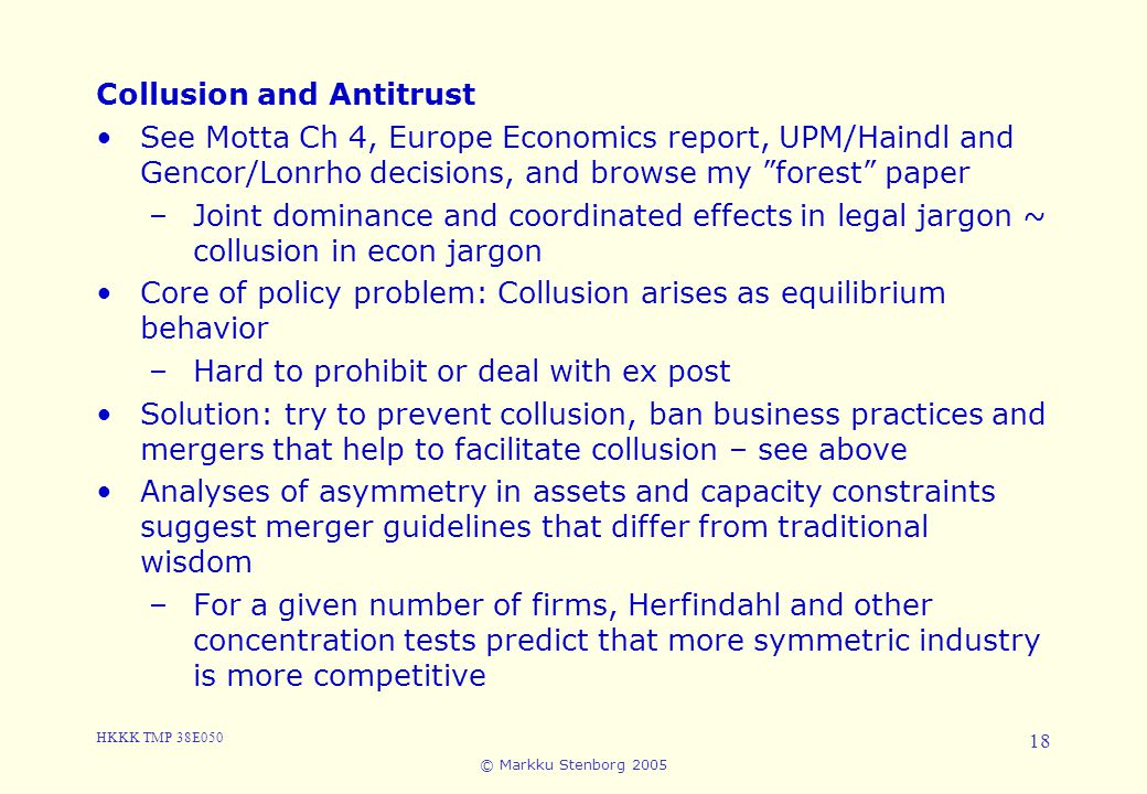 3. Cartels and Collusion Collusion and Antitrust