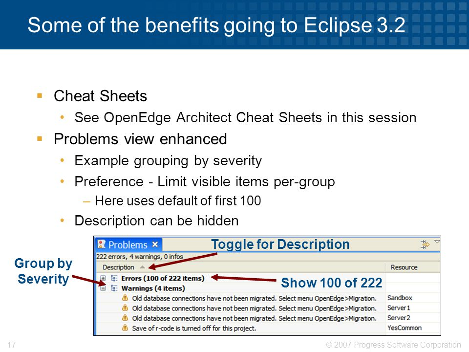 Some of the benefits going to Eclipse 3.2
