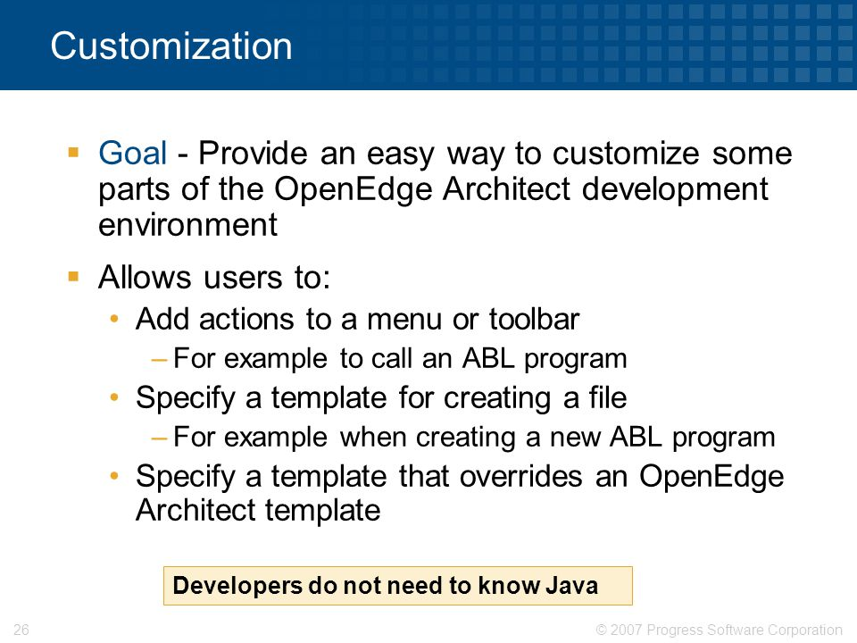 Customization Goal - Provide an easy way to customize some parts of the OpenEdge Architect development environment.