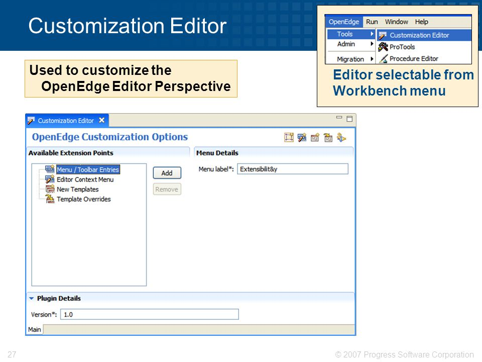 Customization Editor Used to customize the OpenEdge Editor Perspective