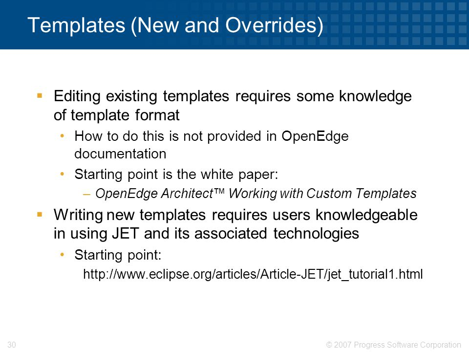 Templates (New and Overrides)