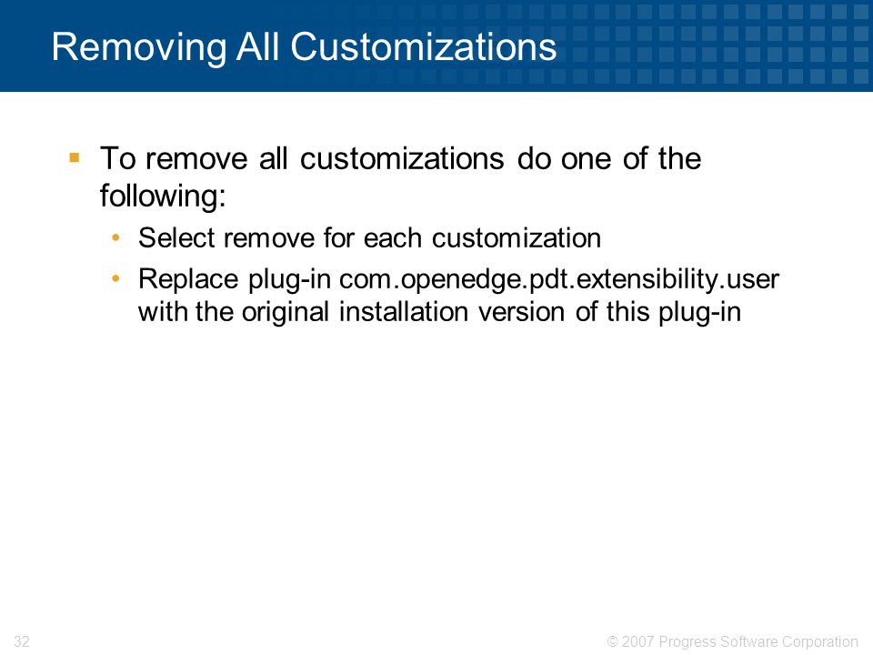 Removing All Customizations