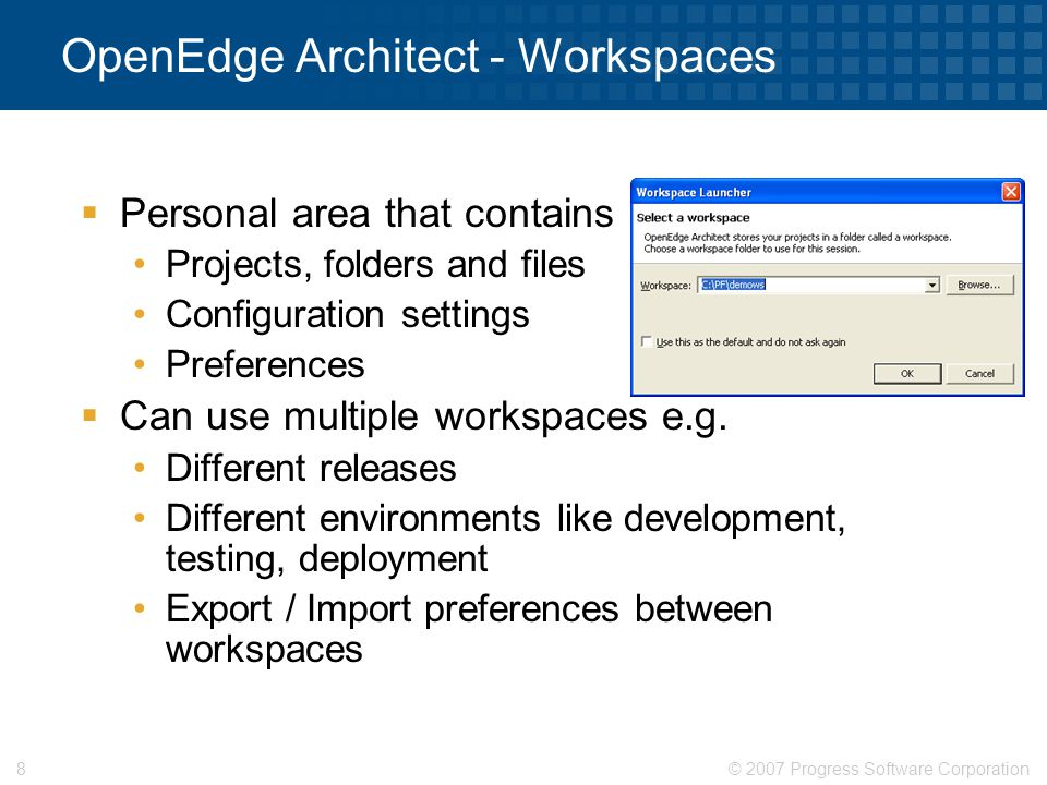 OpenEdge Architect - Workspaces