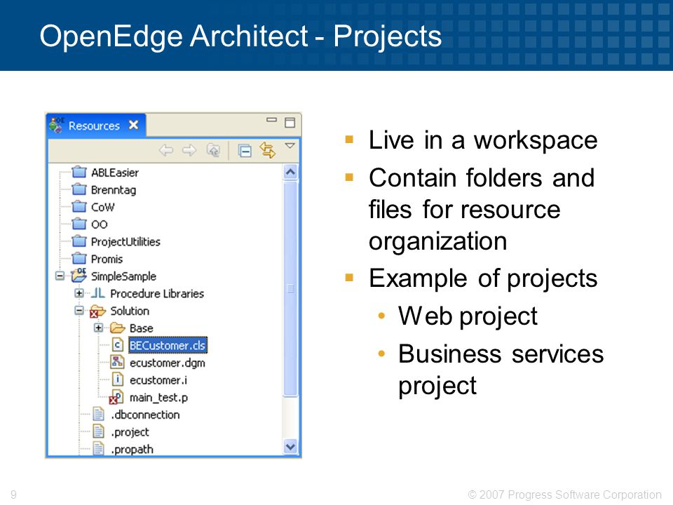 OpenEdge Architect - Projects