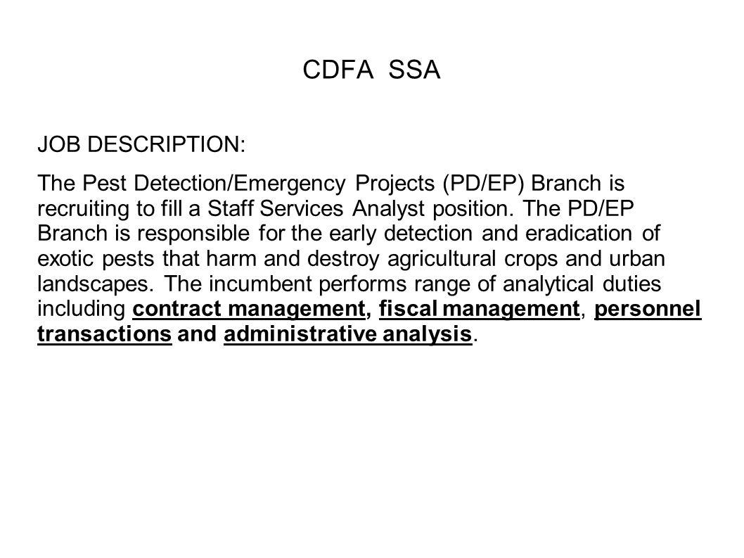 CDFA SSA JOB DESCRIPTION: