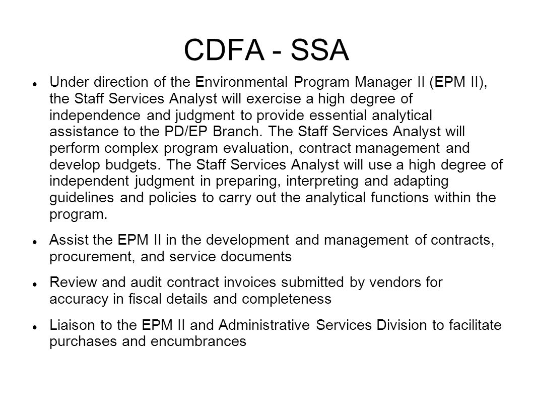 CDFA - SSA