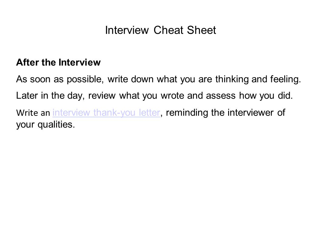Interview Cheat Sheet After the Interview
