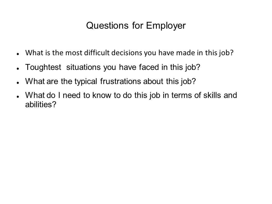 Questions for Employer