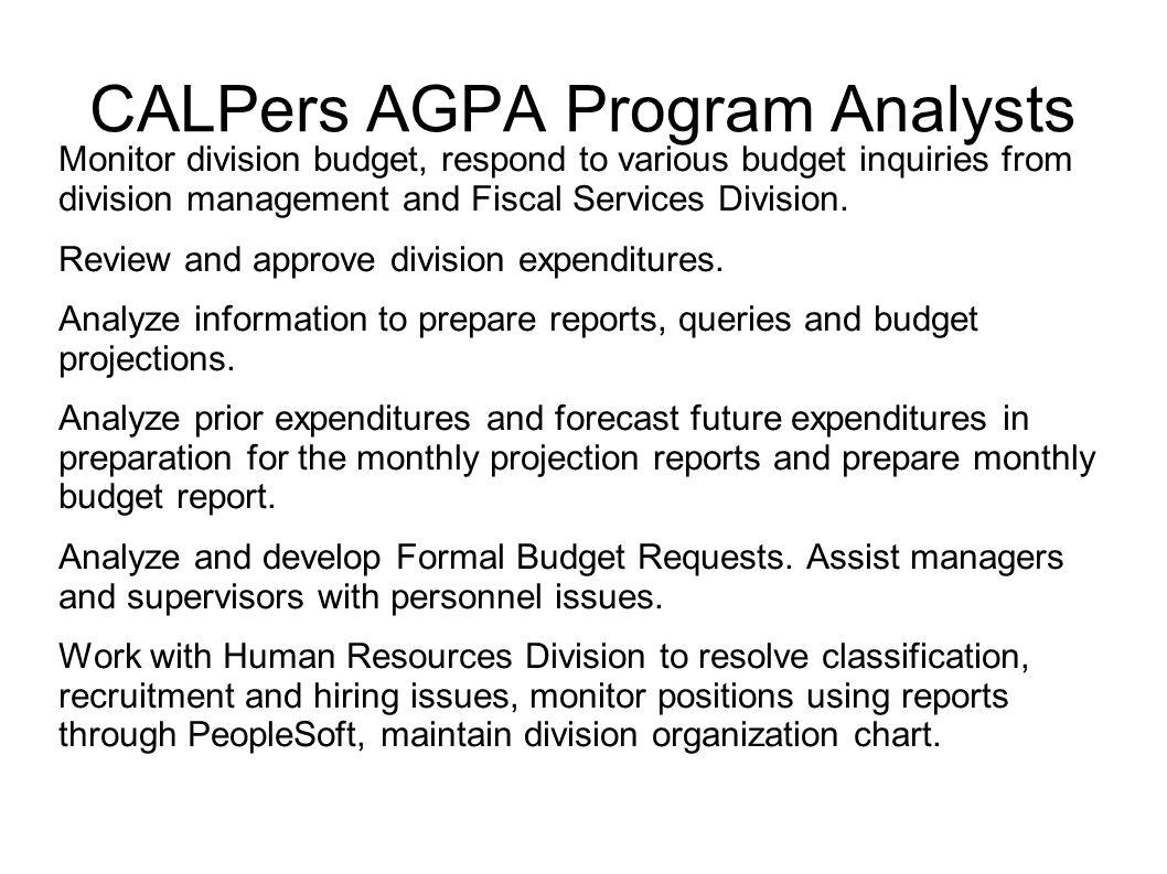CALPers AGPA Program Analysts
