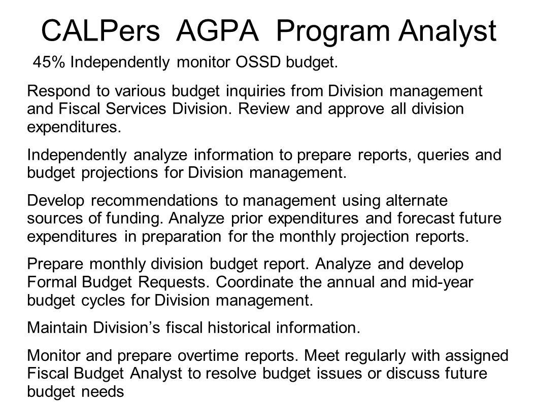 CALPers AGPA Program Analyst