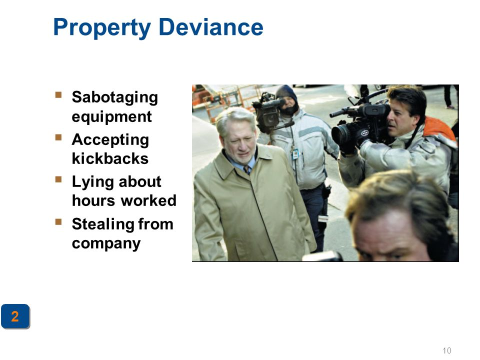 Property Deviance Sabotaging equipment Accepting kickbacks