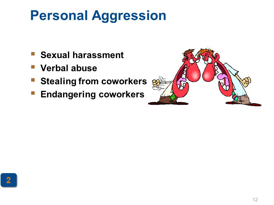 Personal Aggression Sexual harassment Verbal abuse