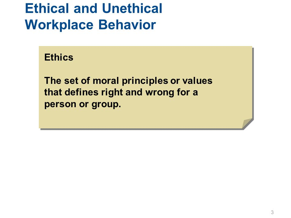 Ethical and Unethical Workplace Behavior
