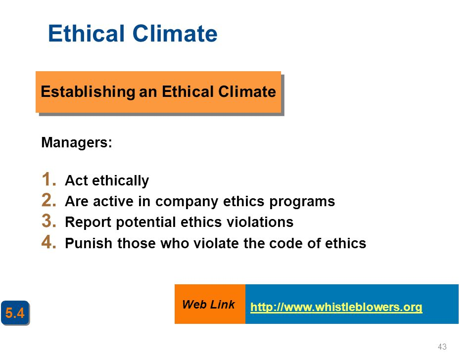 Establishing an Ethical Climate