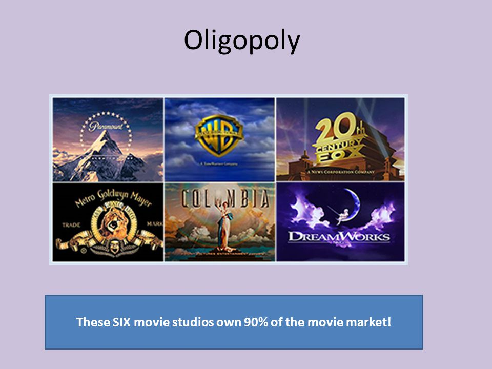 These SIX movie studios own 90% of the movie market!