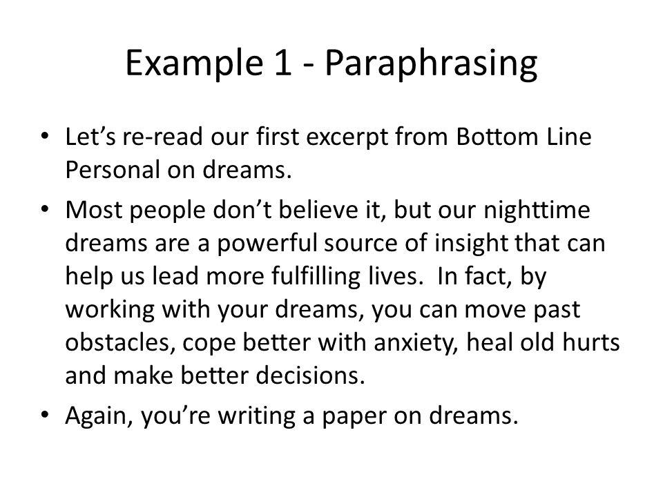 Example 1 - Paraphrasing