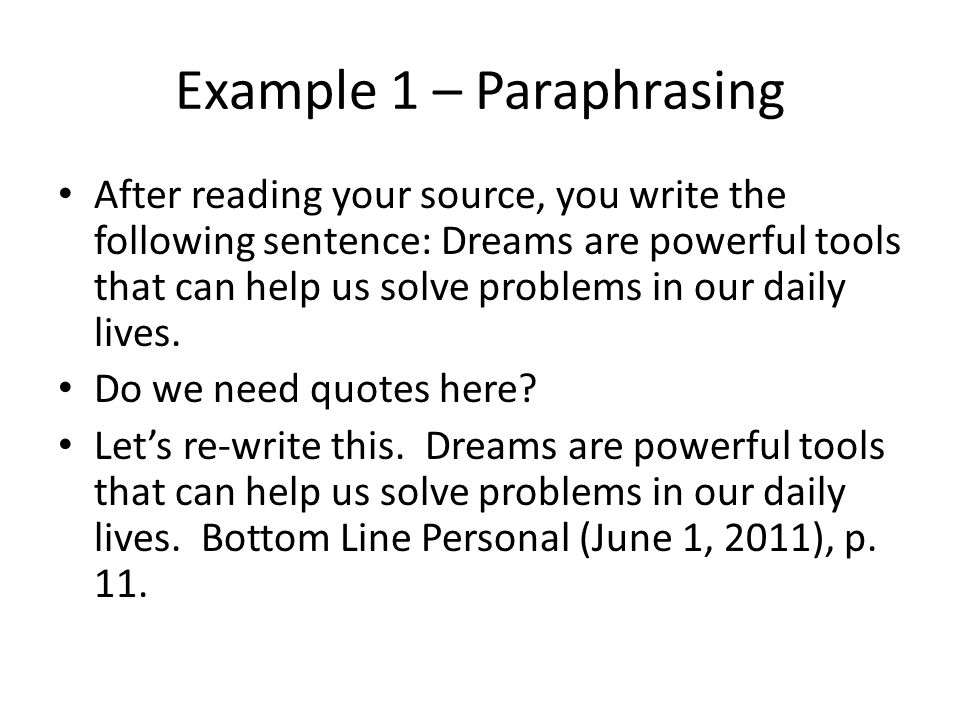 Example 1 – Paraphrasing