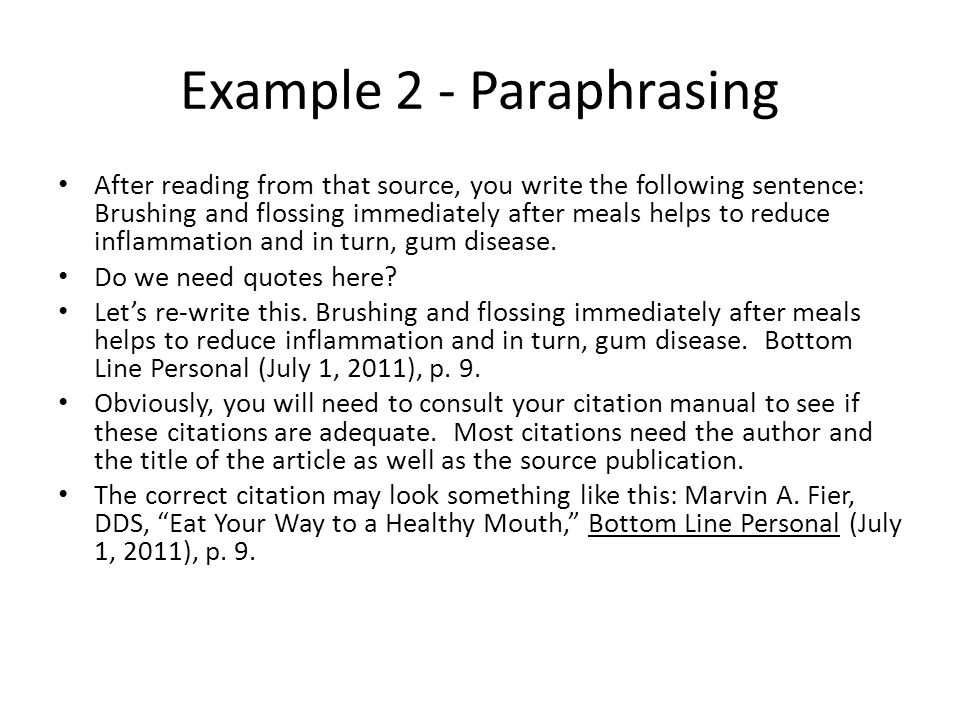 Example 2 - Paraphrasing