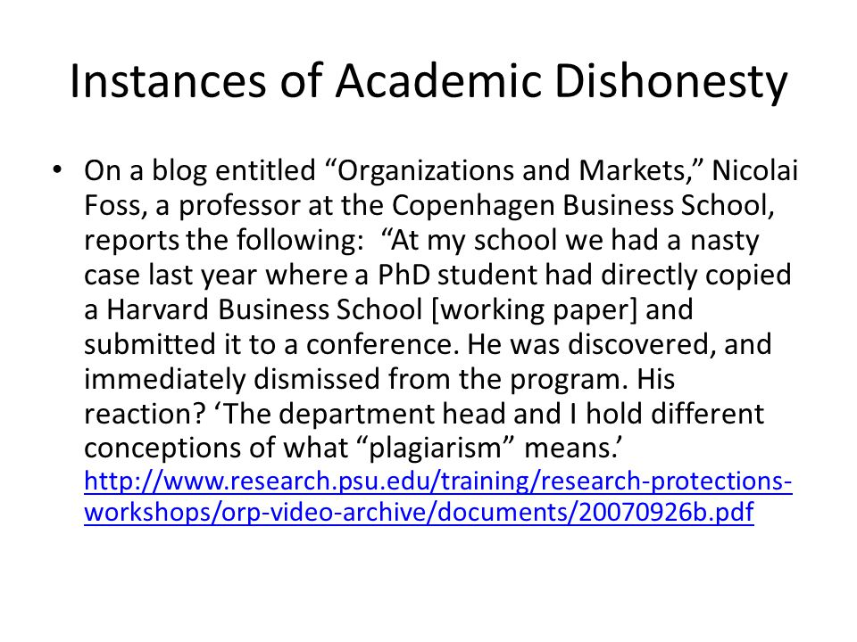 Instances of Academic Dishonesty