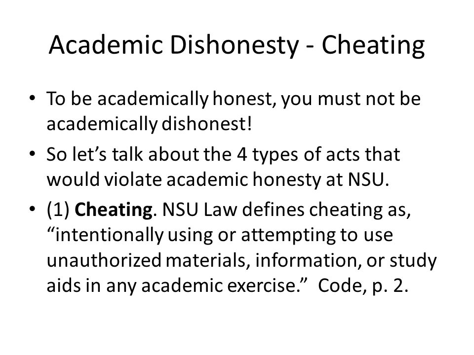 Academic Dishonesty - Cheating