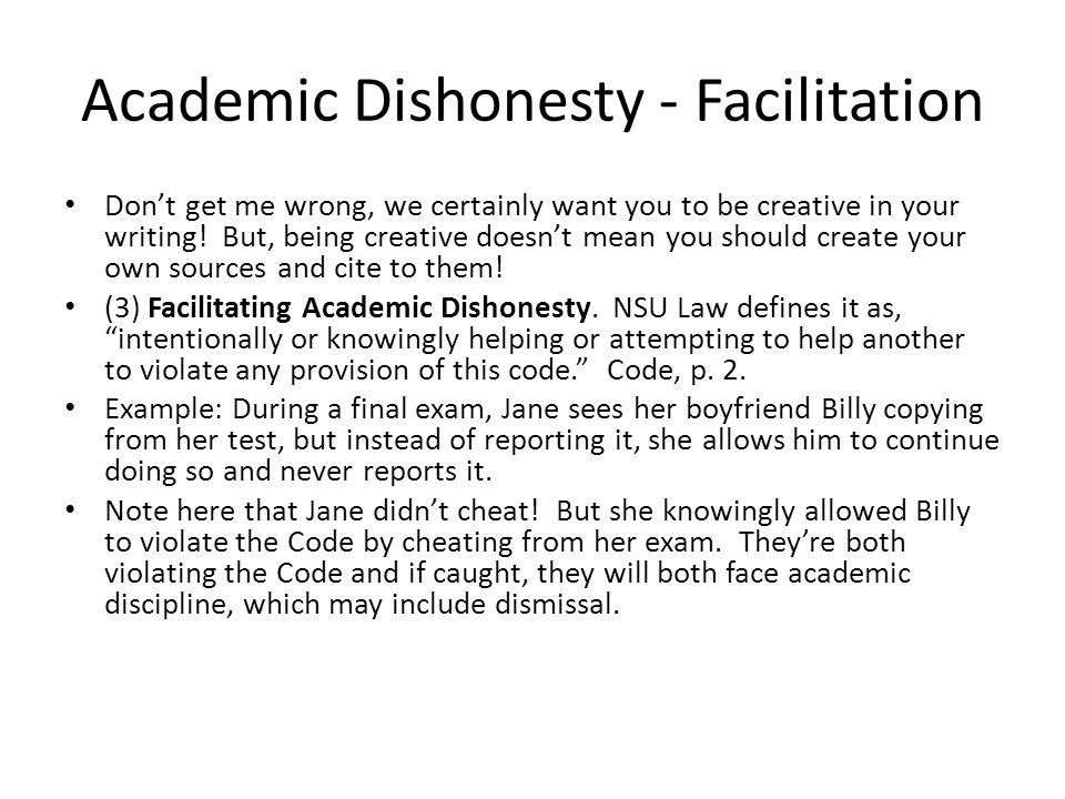 Academic Dishonesty - Facilitation
