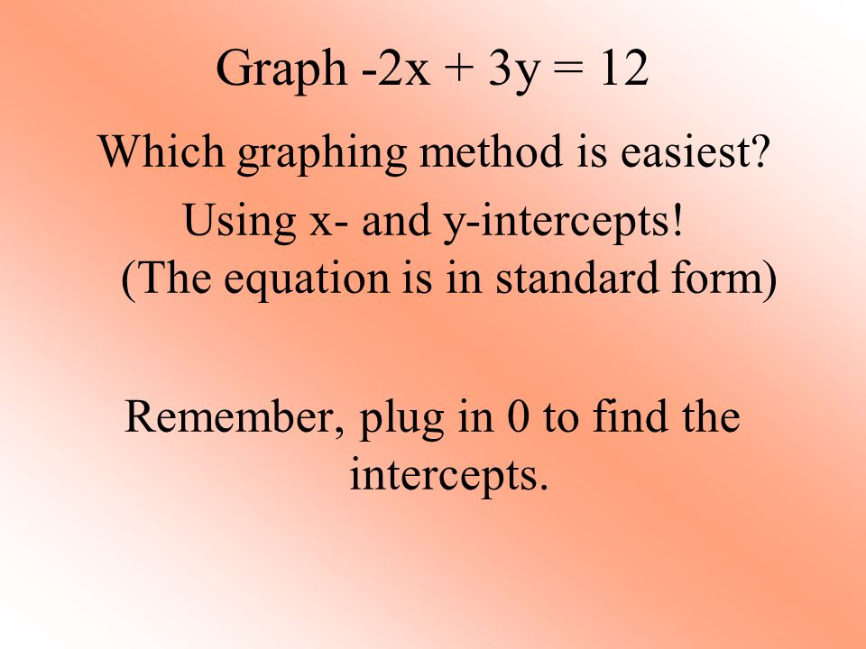 Graph -2x + 3y = 12 Which graphing method is easiest