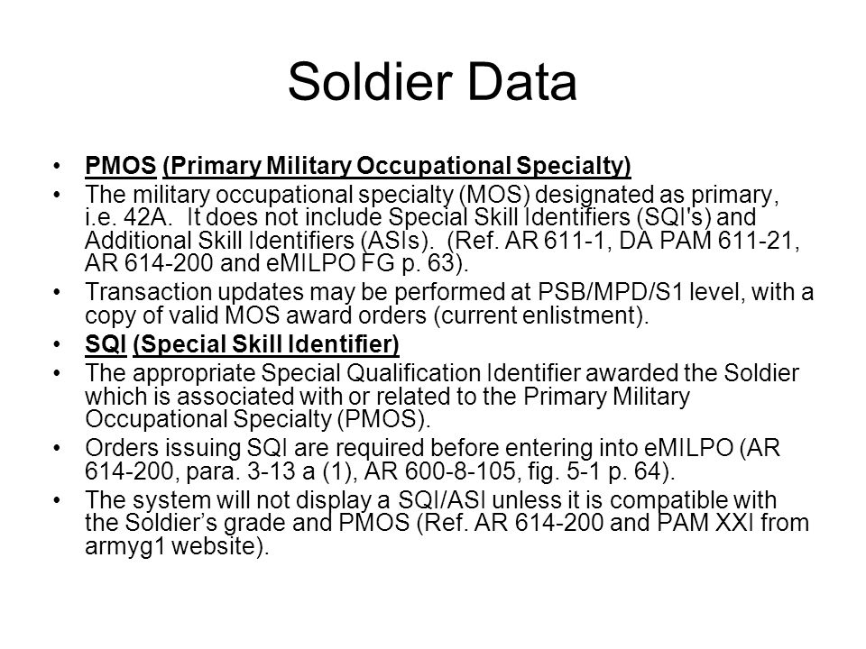 Soldier Data PMOS (Primary Military Occupational Specialty)