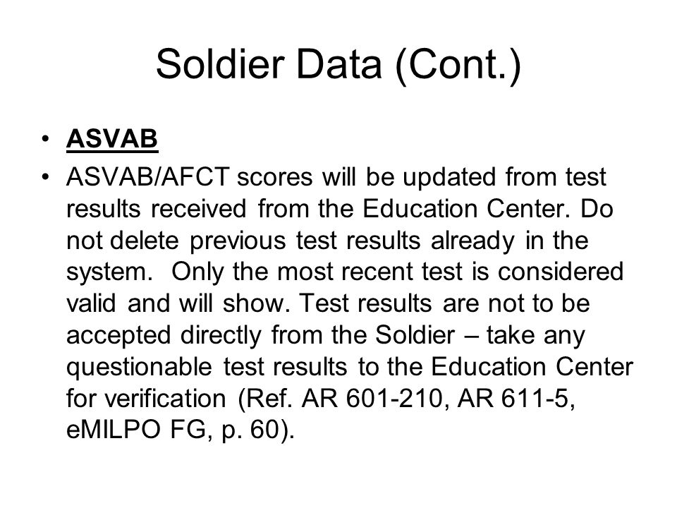 Soldier Data (Cont.) ASVAB