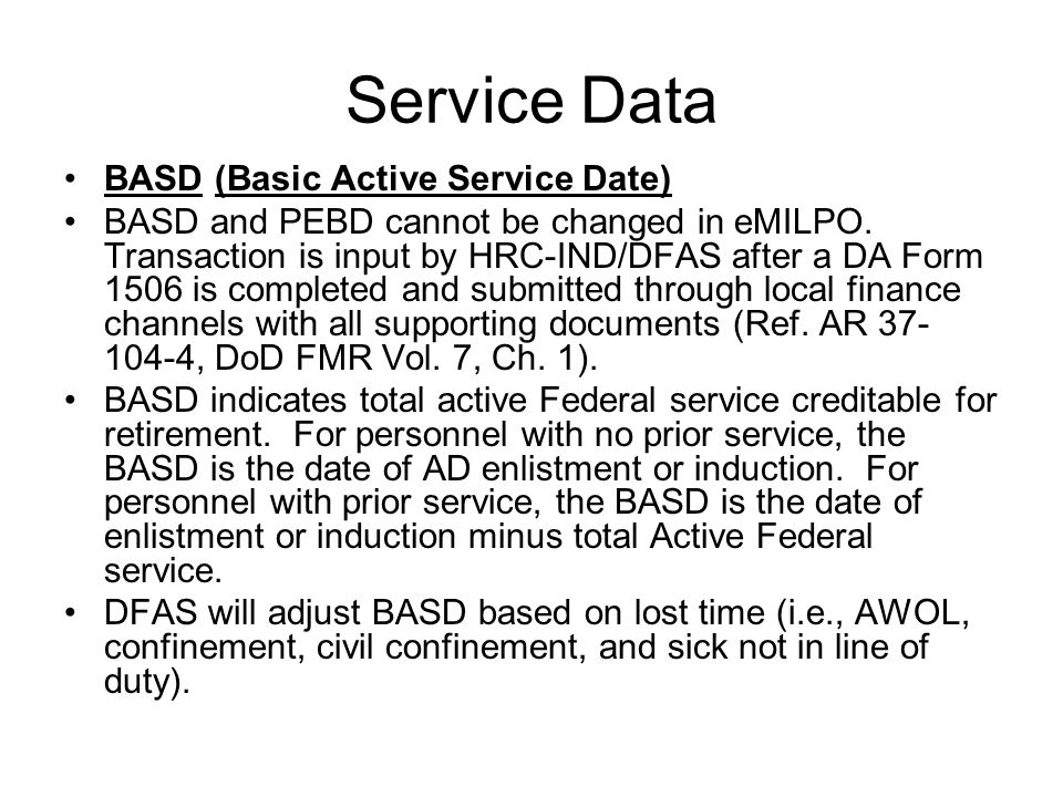 Service Data BASD (Basic Active Service Date)