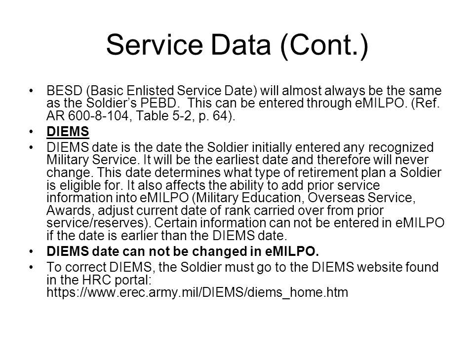 Service Data (Cont.)