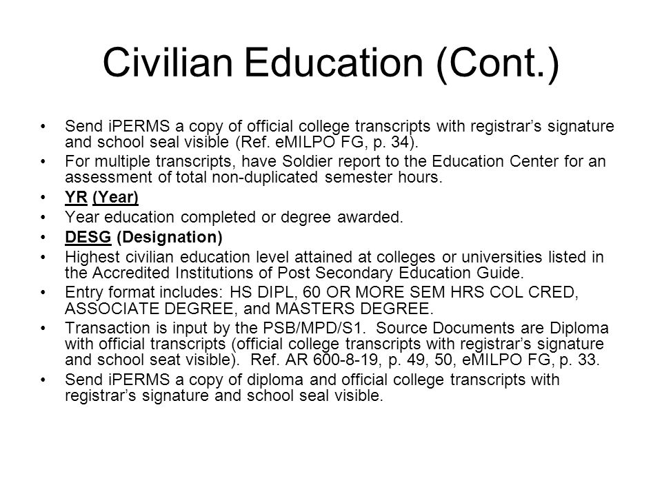 Civilian Education (Cont.)