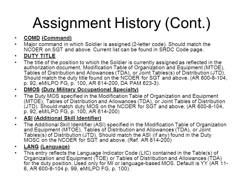 Assignment History (Cont.)