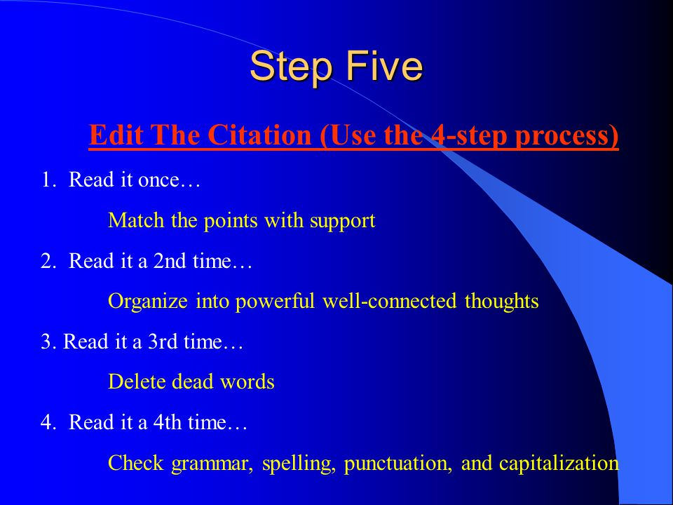 Edit The Citation (Use the 4-step process)