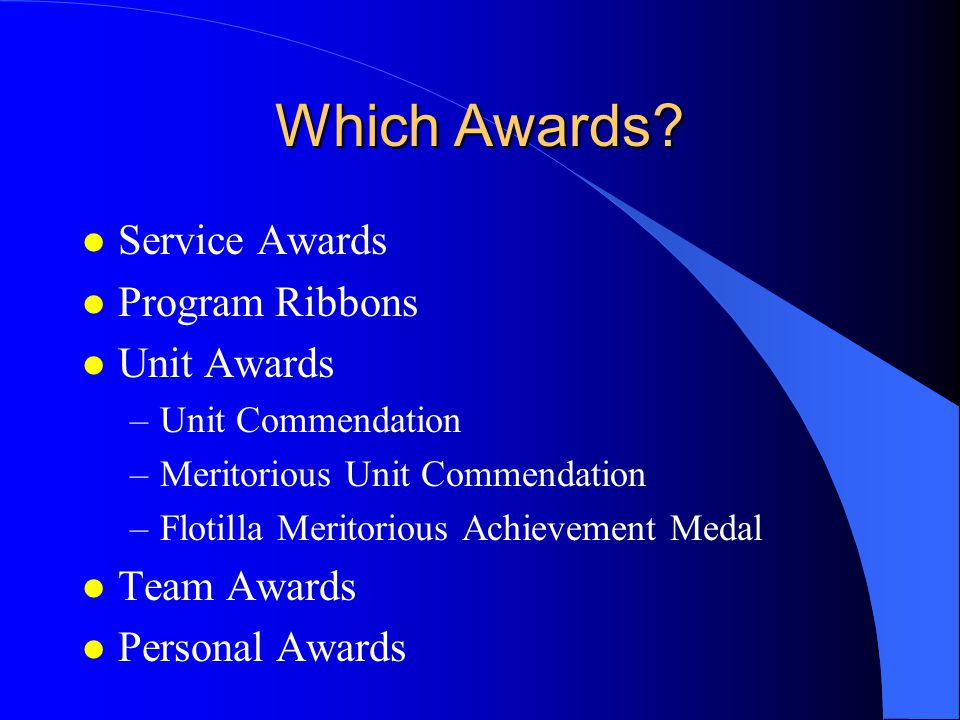 Which Awards Service Awards Program Ribbons Unit Awards Team Awards