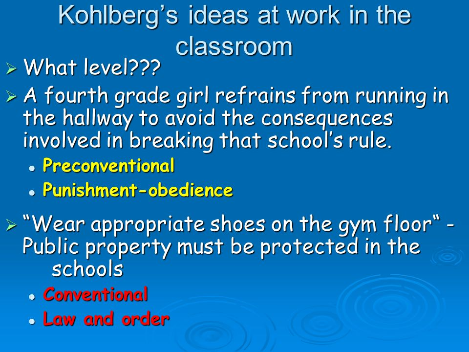 Kohlberg's ideas at work in the classroom