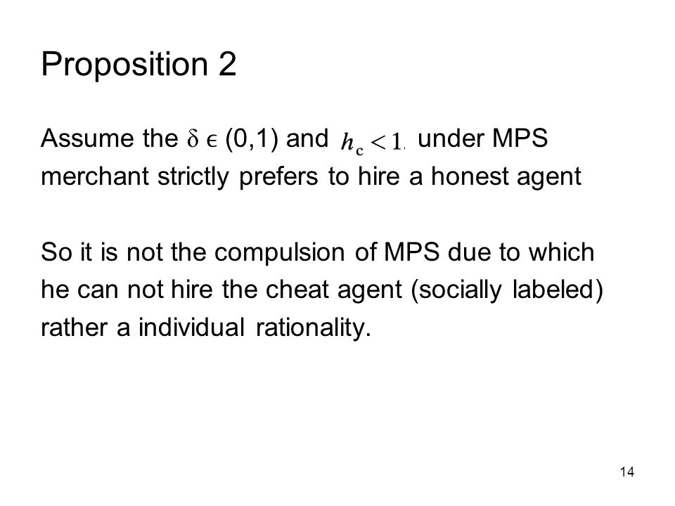 Proposition 2 Assume the δ ϵ (0,1) and under MPS