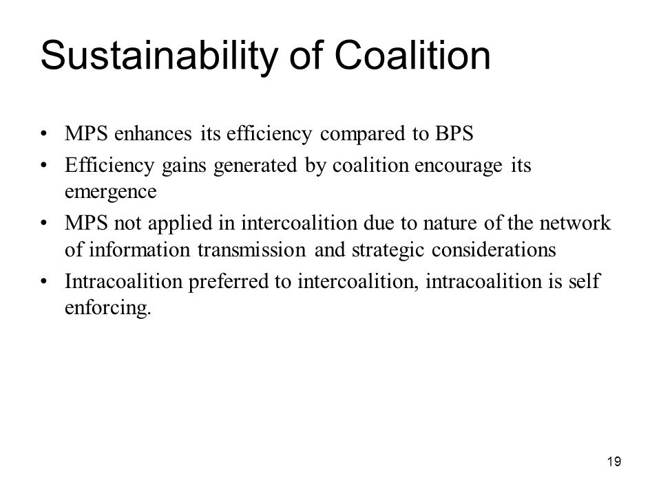 Sustainability of Coalition