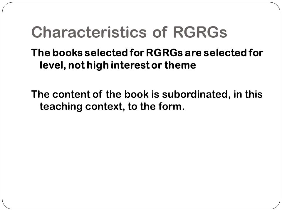 Characteristics of RGRGs