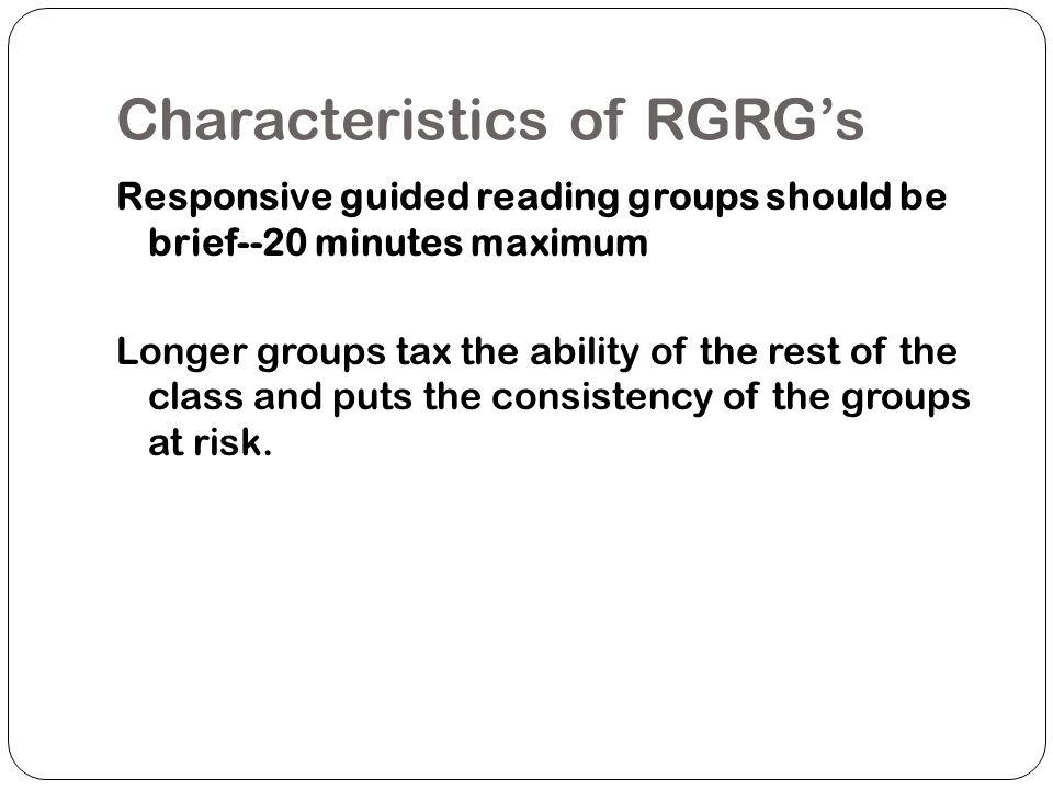 Characteristics of RGRG's