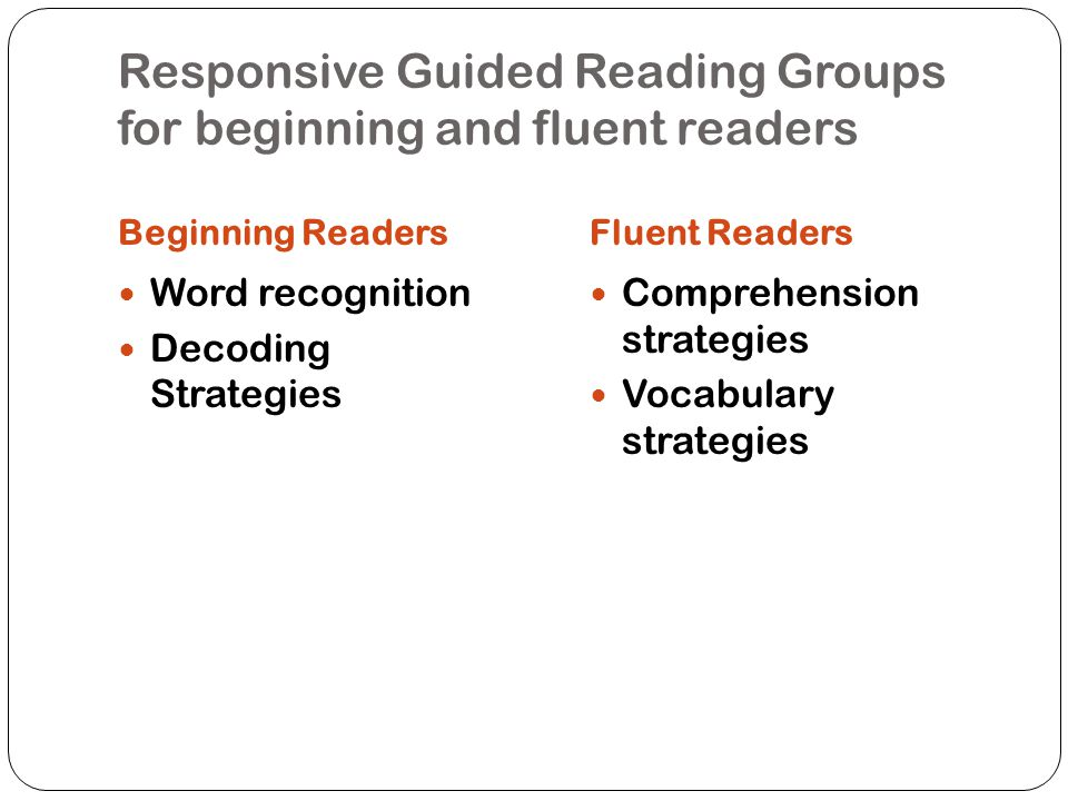 Responsive Guided Reading Groups for beginning and fluent readers