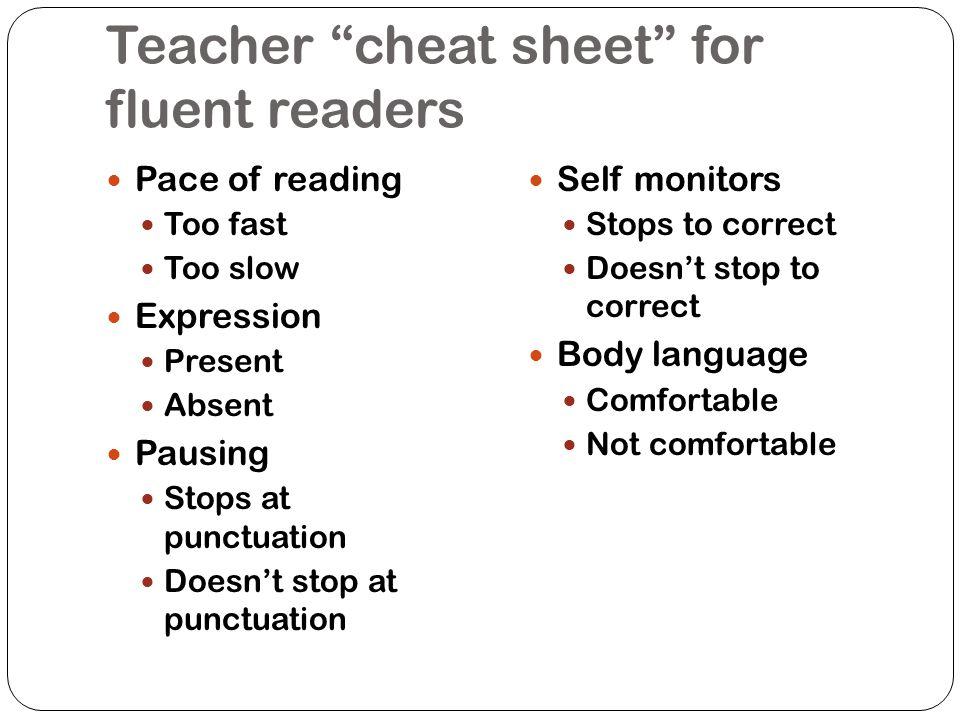 Teacher cheat sheet for fluent readers